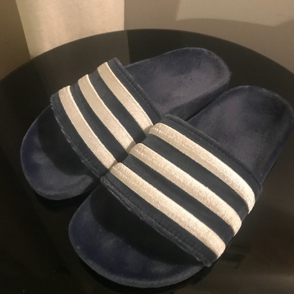 new york 90017 b3540 adidas Shoes - adidas Adilette Velvet Slides 💦 In Blue